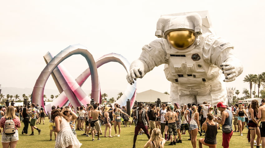 the iconic astronaut at coachella valley music and arts festival