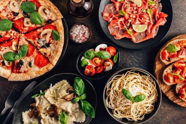 array of italian food, pizza and pasta