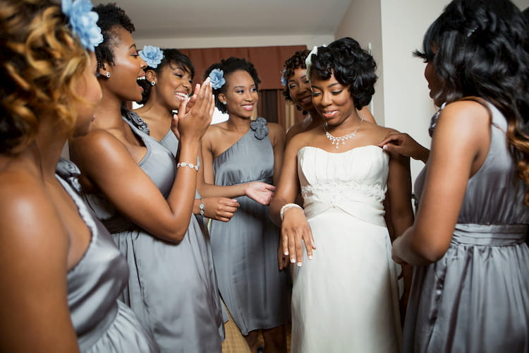 Bride with her bridesmaids in wedding attire