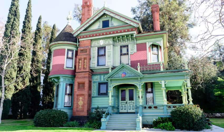 a colorful Victorian-style house