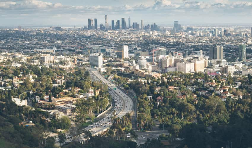 View of the LA skyline from the Mulholland Drive