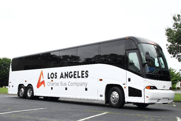 "A charter bus rental with ""Los Angeles Charter Bus Company"" written on it"
