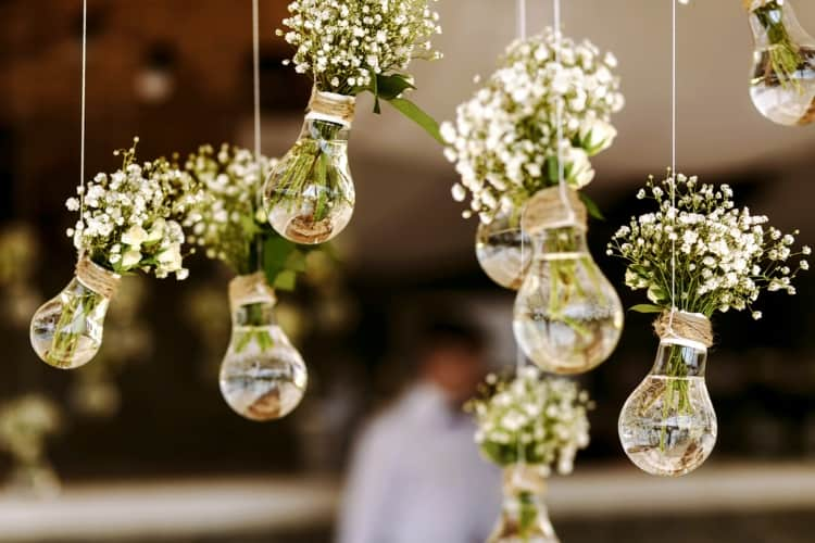 Light bulbs filled with flowers that are suspended from the ceiling