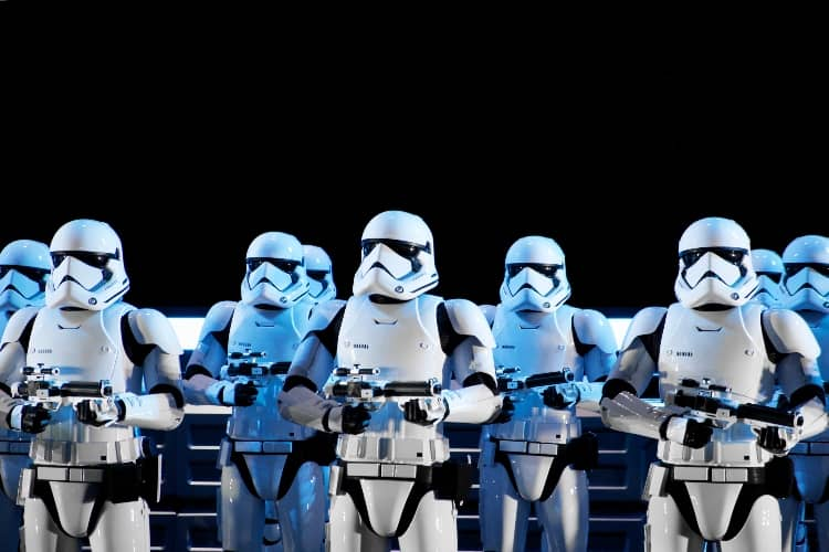 A row of Star Wars storm troopers