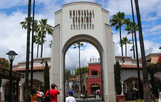 The main entrance to Universal Studios Hollywood.