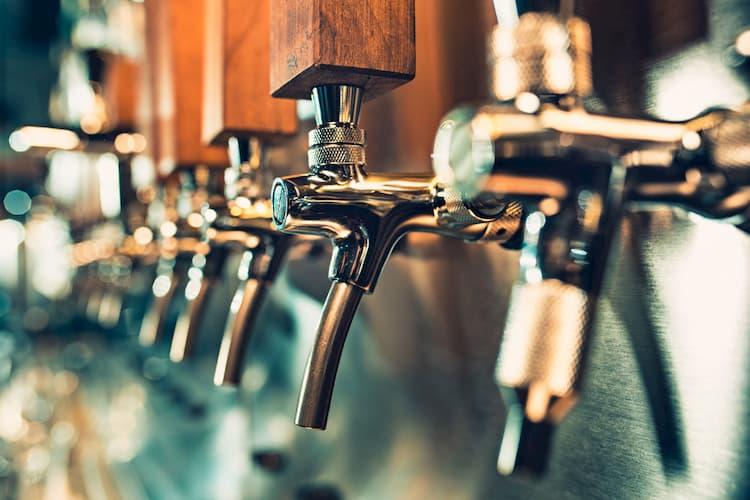 Beer taps with wooden handles