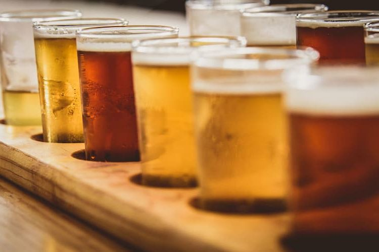 Flight of beers of different types