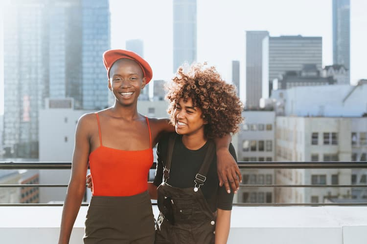 Two young women on rooftop in LA