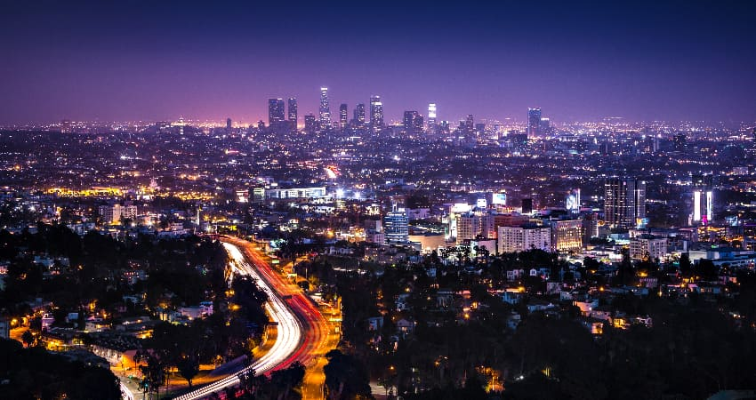 The Los Angeles skyline at night, viewed from a tall hill