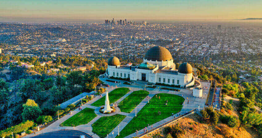 An aerial view of the Griffith Observatory in Griffith Park