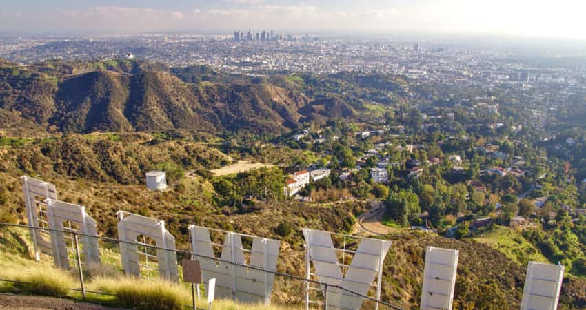 Views of Hollywood from behind the Hollywood Sign