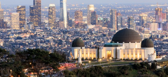 griffith observatory with los angeles in the background