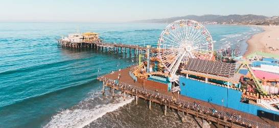aerial view of the santa monica pier and beach
